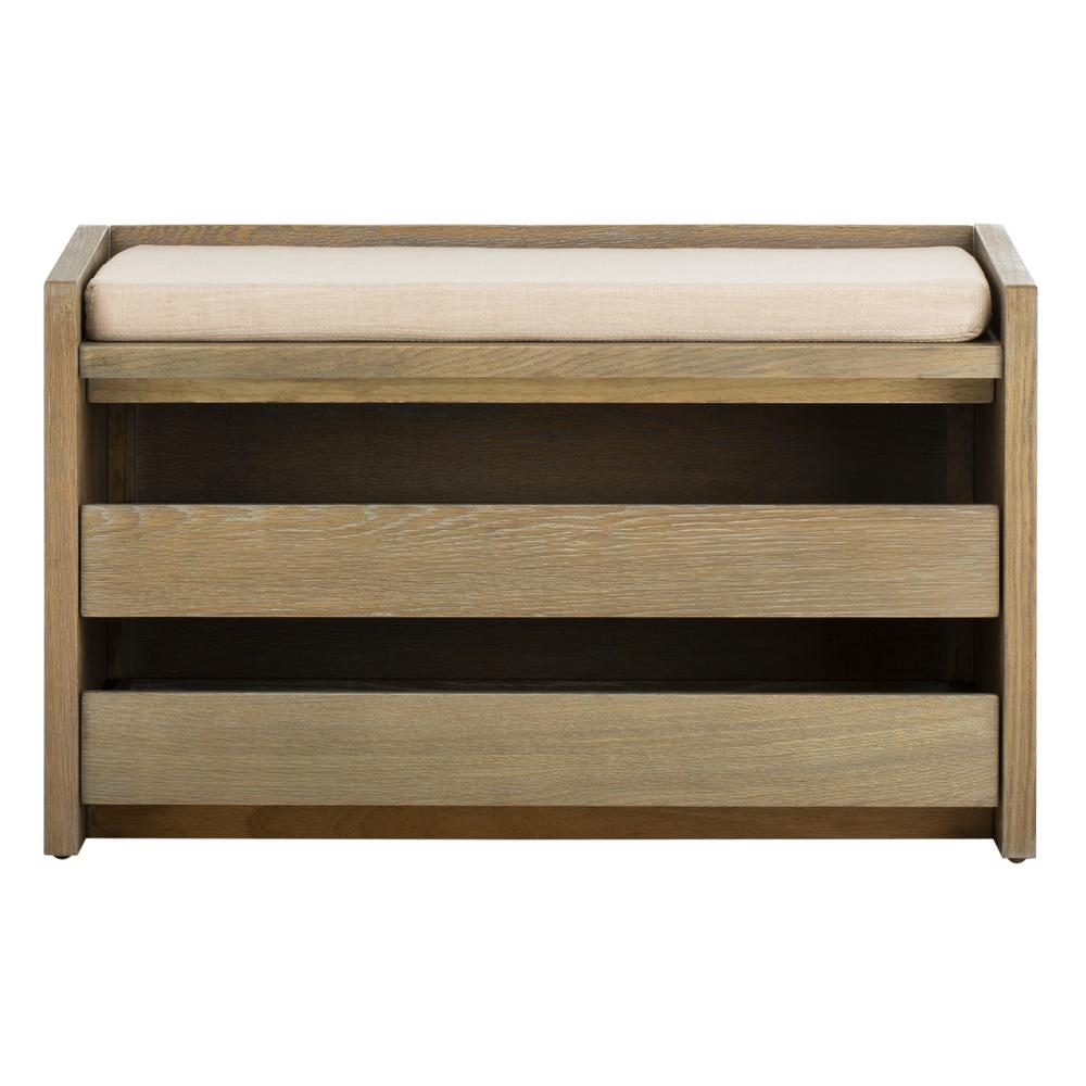 Percy Storage Bench, Rustic Oak/Beige. Picture 1