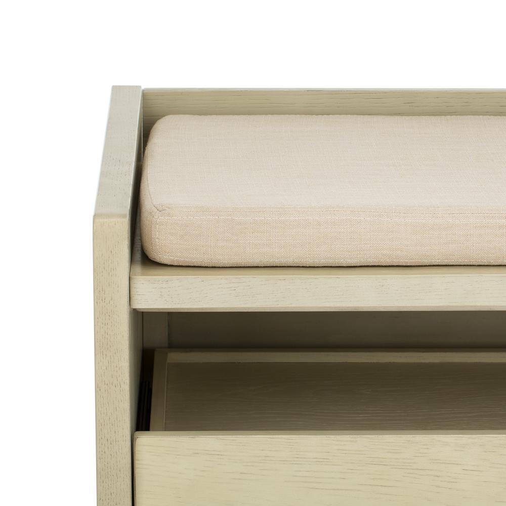 Percy Storage Bench, White Wash/Beige. Picture 4