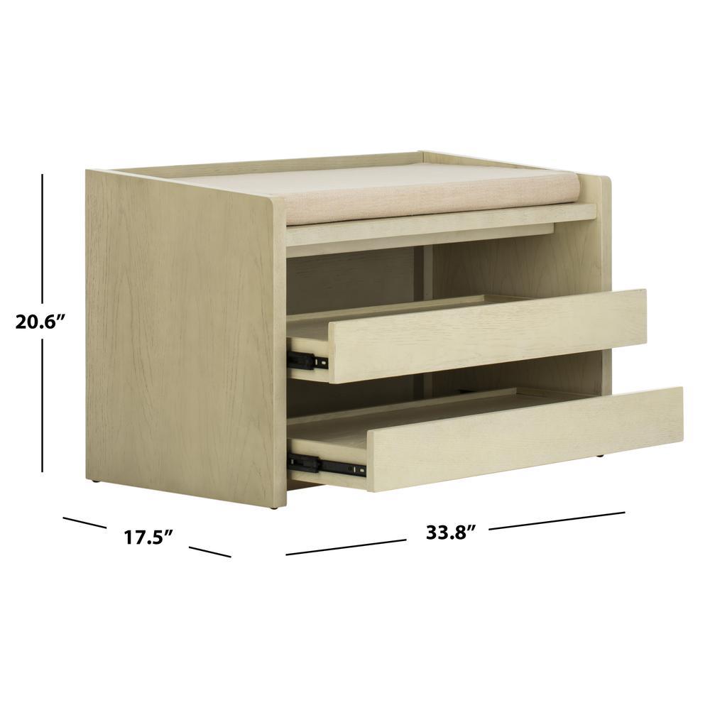 Percy Storage Bench, White Wash/Beige. Picture 5
