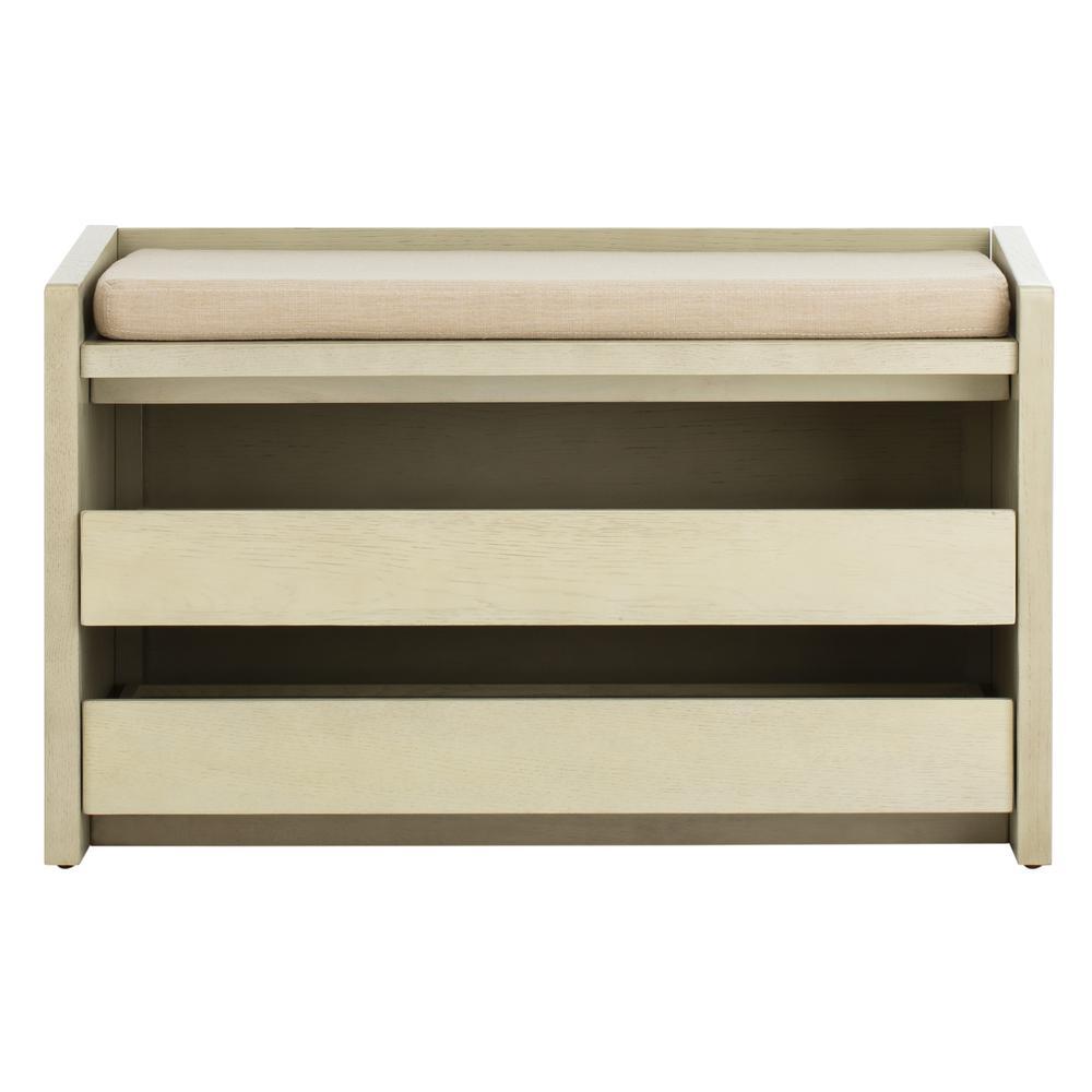 Percy Storage Bench, White Wash/Beige. Picture 1