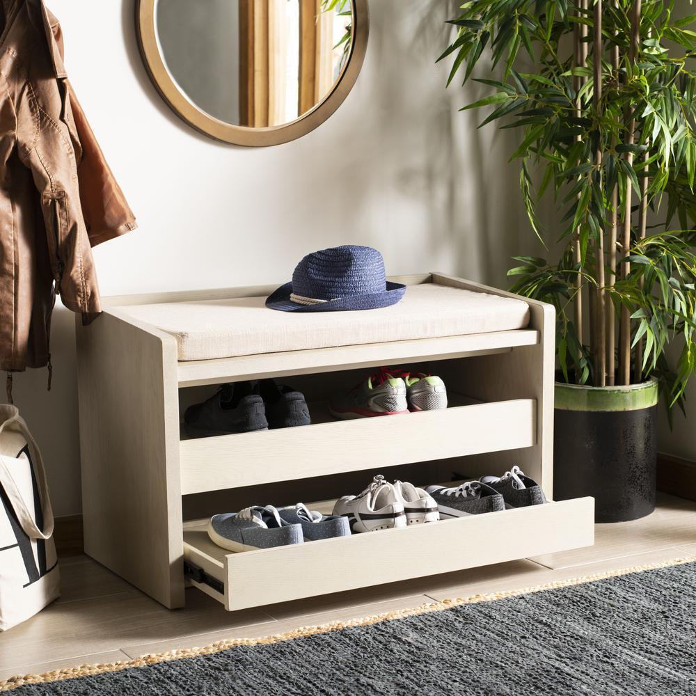 Percy Storage Bench, White Wash/Beige. Picture 7