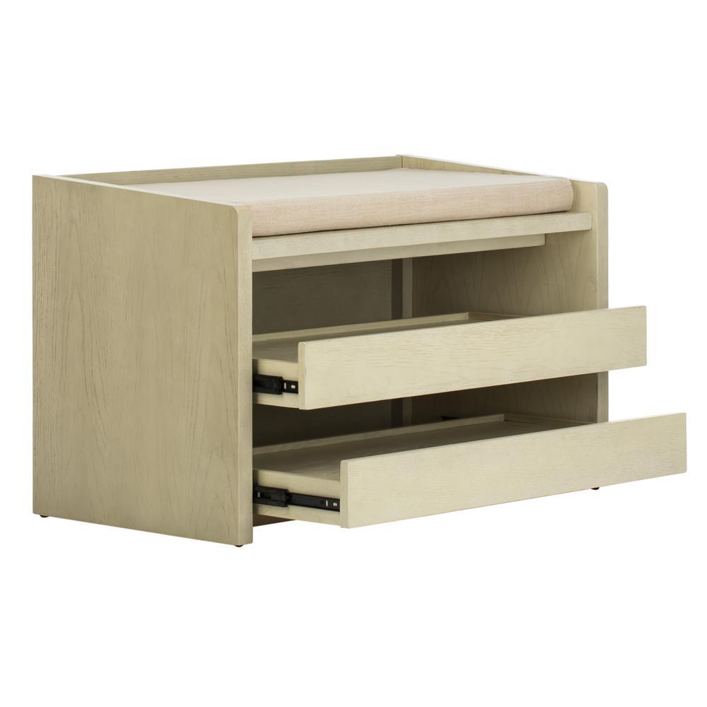 Percy Storage Bench, White Wash/Beige. Picture 8