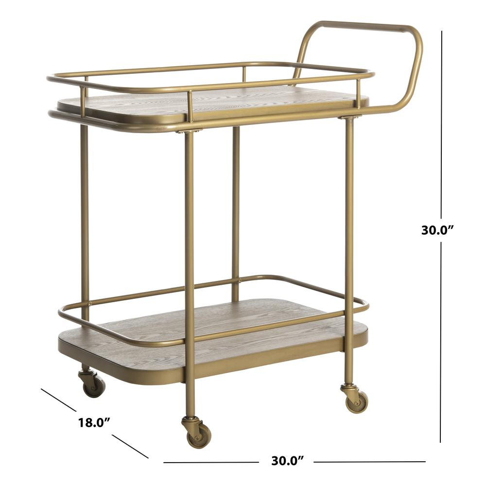Gaia 2 Tier Rectangle Bar Cart, Rustic Oak/Gold. Picture 4