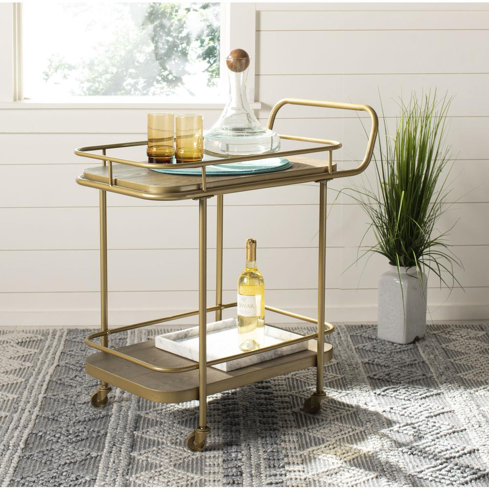 Gaia 2 Tier Rectangle Bar Cart, Rustic Oak/Gold. Picture 6