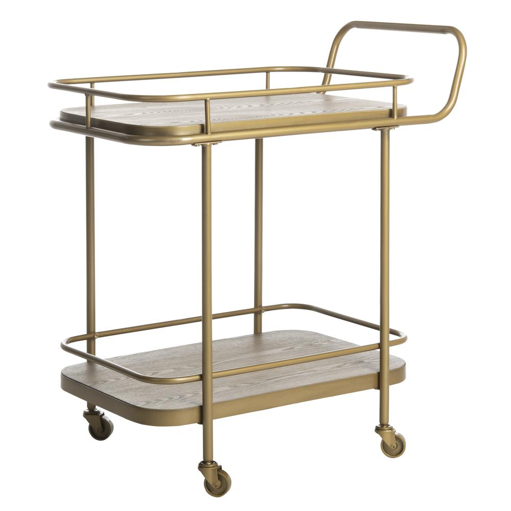 Gaia 2 Tier Rectangle Bar Cart, Rustic Oak/Gold. Picture 7