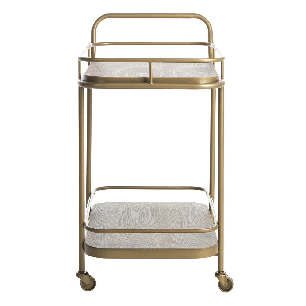 Gaia 2 Tier Rectangle Bar Cart, Rustic Oak/Gold. Picture 8