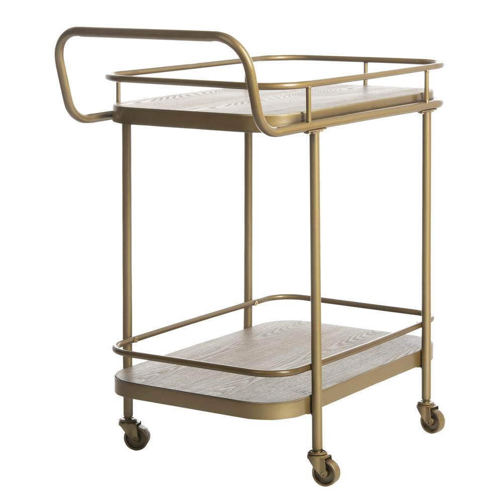Gaia 2 Tier Rectangle Bar Cart, Rustic Oak/Gold. Picture 9