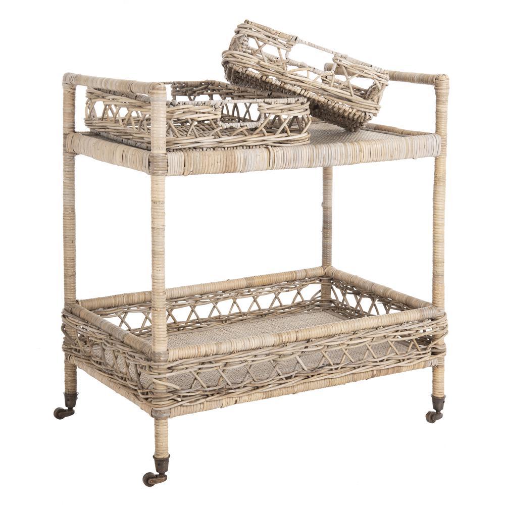 Ambrose 2 Tier Rattan Bar Cart, Grey Wash/Antique Brass. Picture 8