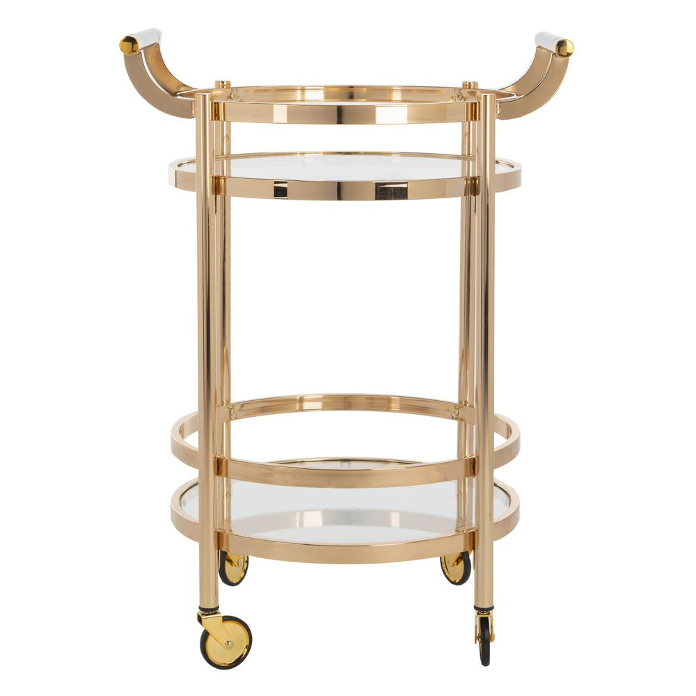 Sienna 2 Tier Round Bar Cart, Gold. The main picture.