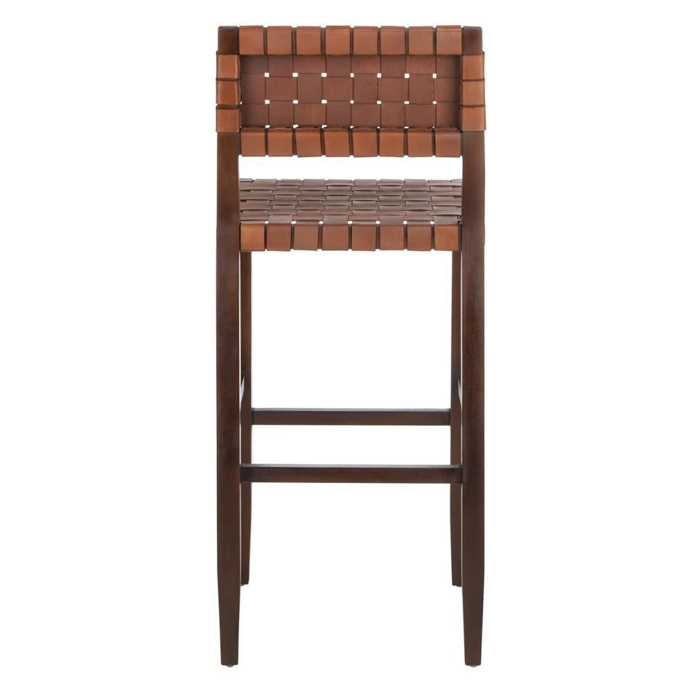 Paxton Woven Leather Barstool, Cognac. Picture 3