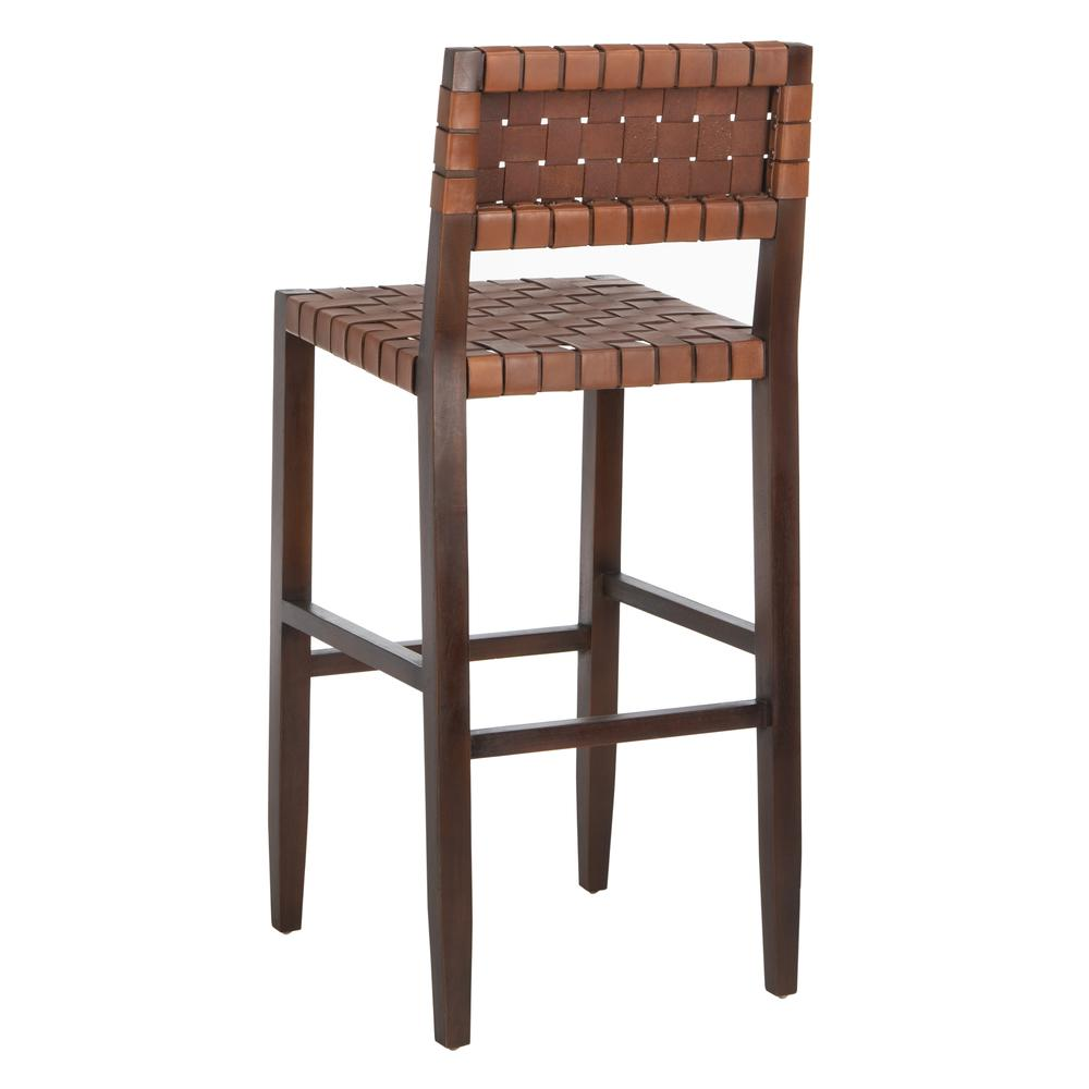 Paxton Woven Leather Barstool, Cognac. Picture 4