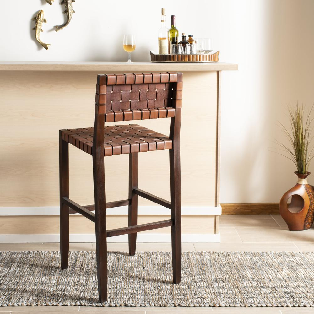Paxton Woven Leather Barstool, Cognac. Picture 2
