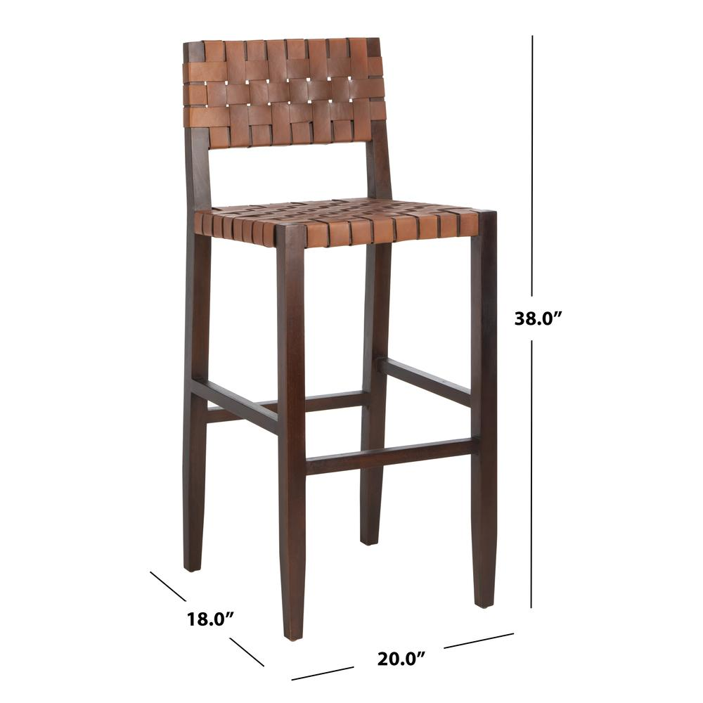 Paxton Woven Leather Barstool, Cognac. Picture 6