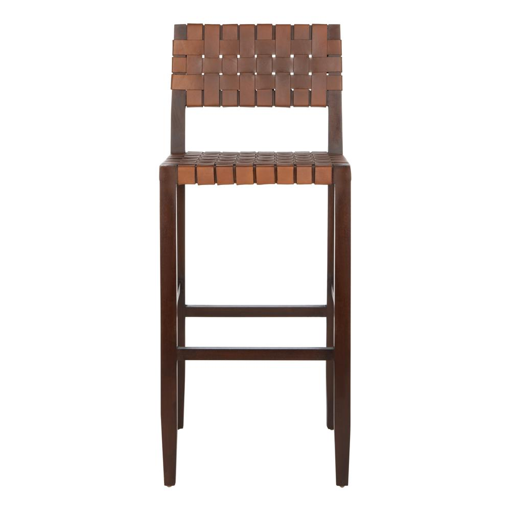 Paxton Woven Leather Barstool, Cognac. Picture 1