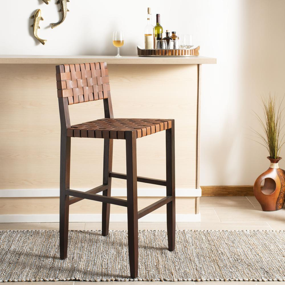 Paxton Woven Leather Barstool, Cognac. Picture 8