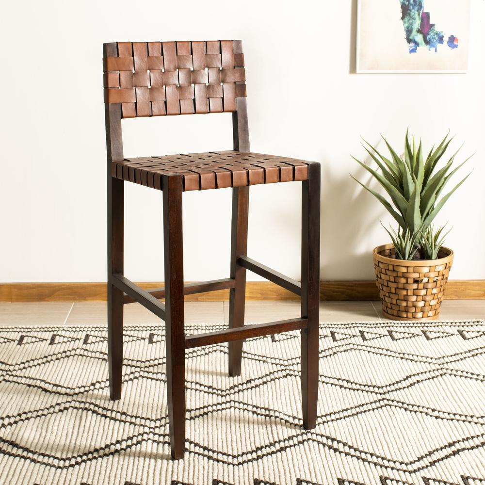 Paxton Woven Leather Barstool, Cognac. Picture 9