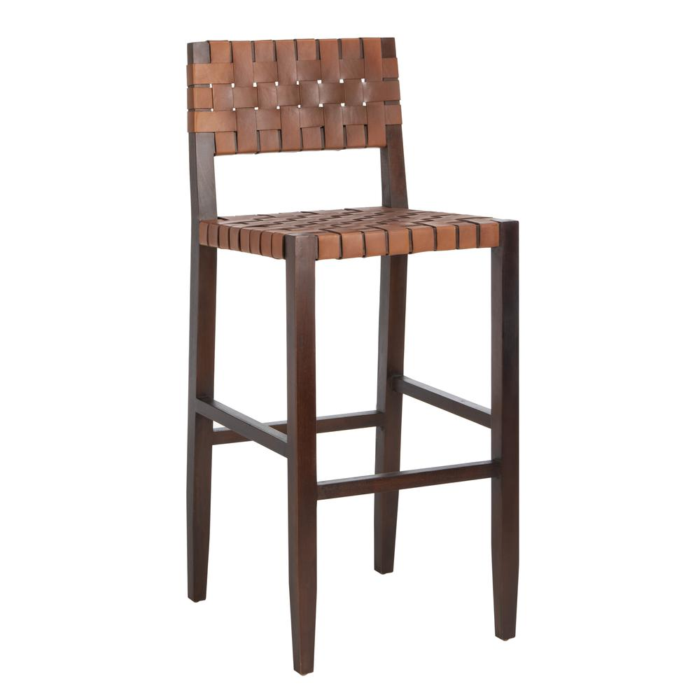 Paxton Woven Leather Barstool, Cognac. Picture 10