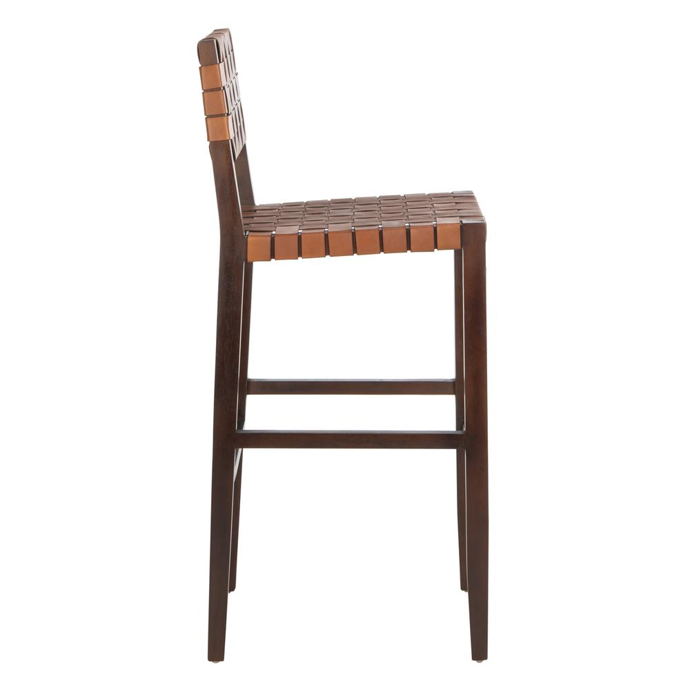 Paxton Woven Leather Barstool, Cognac. Picture 11