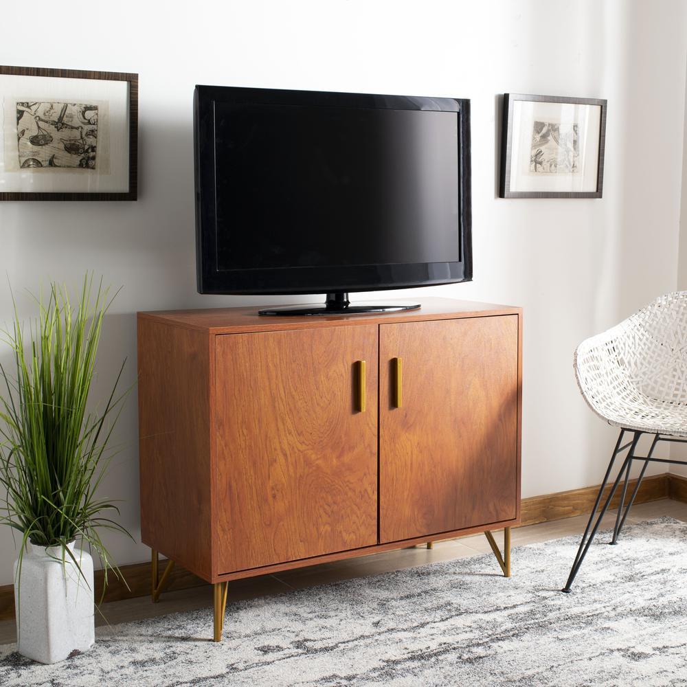 Pine 2 Door Modular Tv Unit, Natural/Gold. Picture 8