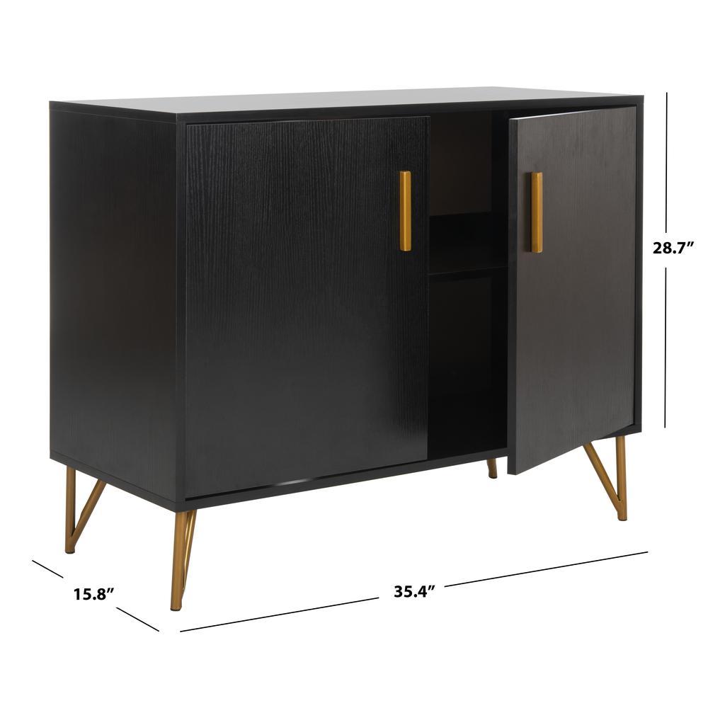 Pine 2 Door Modular Tv Unit, Black/Gold. Picture 6