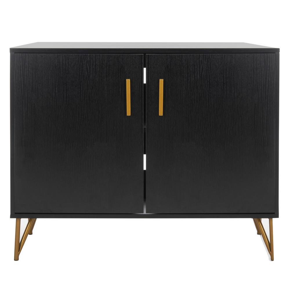 Pine 2 Door Modular Tv Unit, Black/Gold. Picture 1
