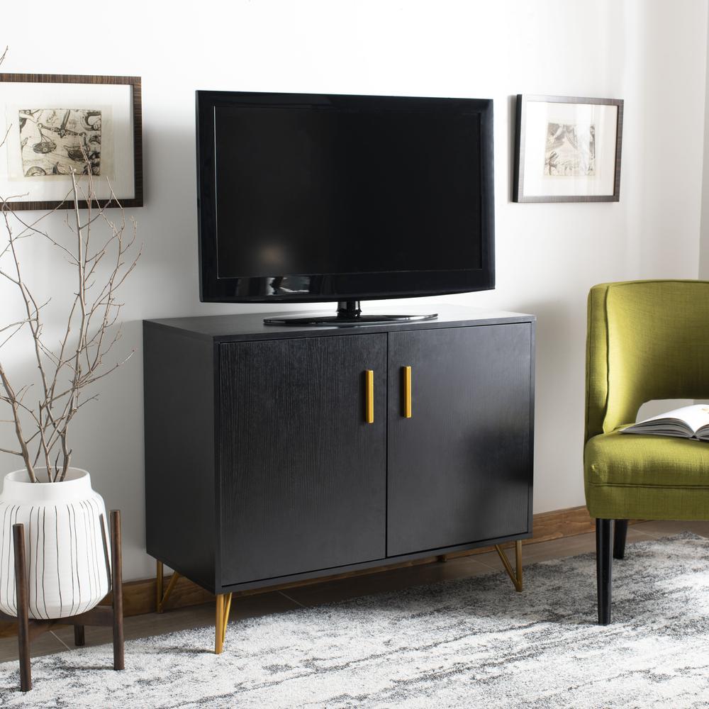 Pine 2 Door Modular Tv Unit, Black/Gold. Picture 8