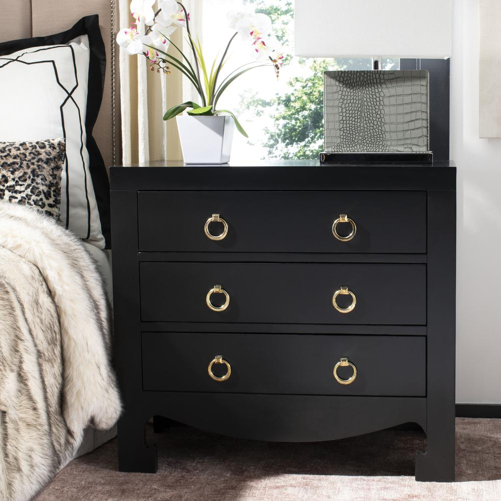 Dion 3 Drawer Chest, Black/Gold. Picture 7