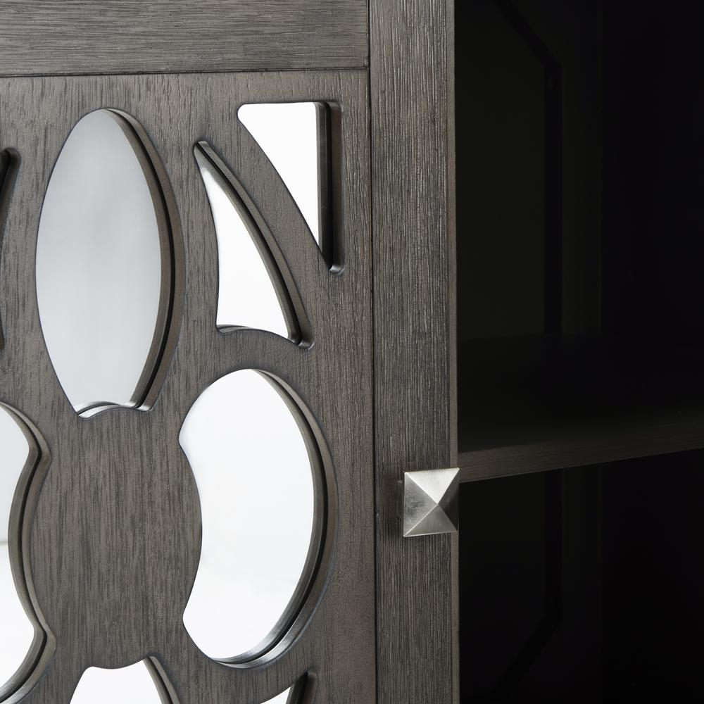 Shannon 2 Door Chest, Grey Wash Walnut/Mirror. Picture 4