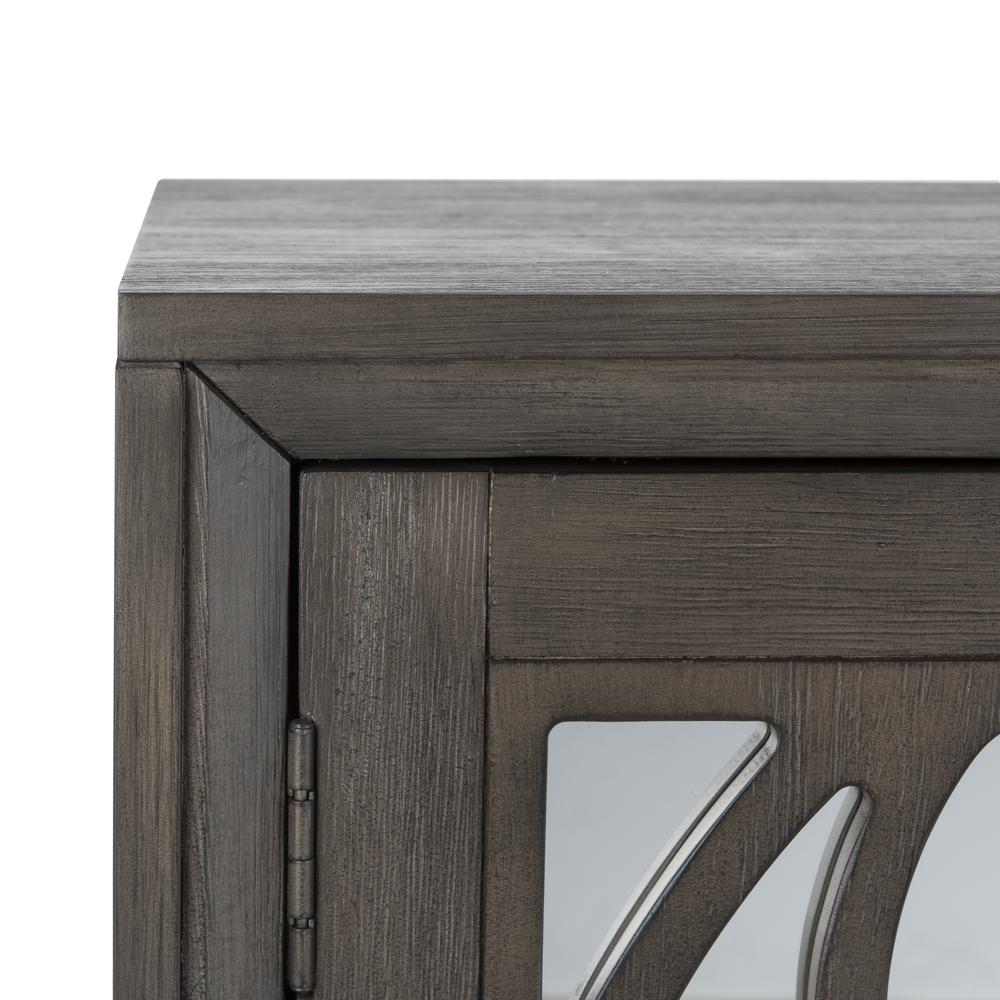 Shannon 2 Door Chest, Grey Wash Walnut/Mirror. Picture 5