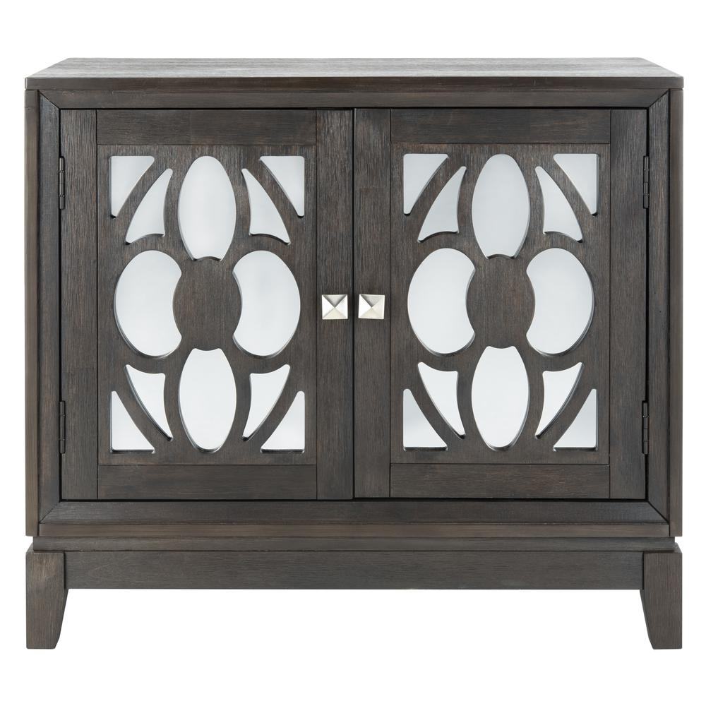 Shannon 2 Door Chest, Grey Wash Walnut/Mirror. Picture 1