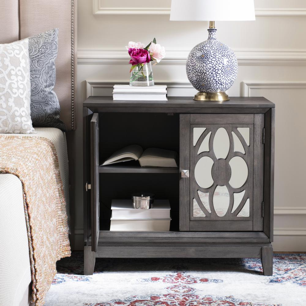 Shannon 2 Door Chest, Grey Wash Walnut/Mirror. Picture 7