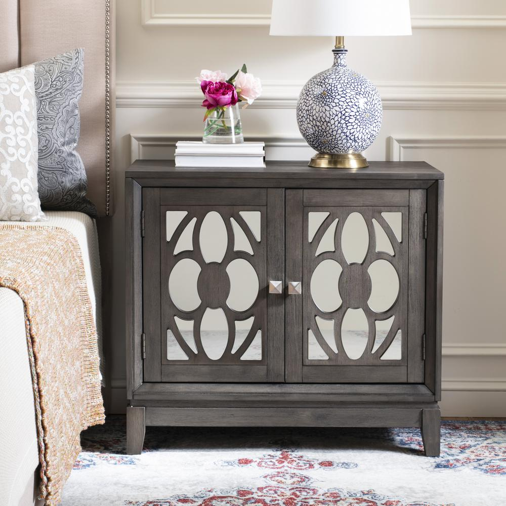 Shannon 2 Door Chest, Grey Wash Walnut/Mirror. Picture 8