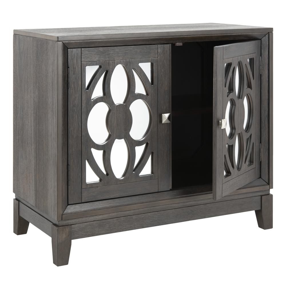 Shannon 2 Door Chest, Grey Wash Walnut/Mirror. Picture 10