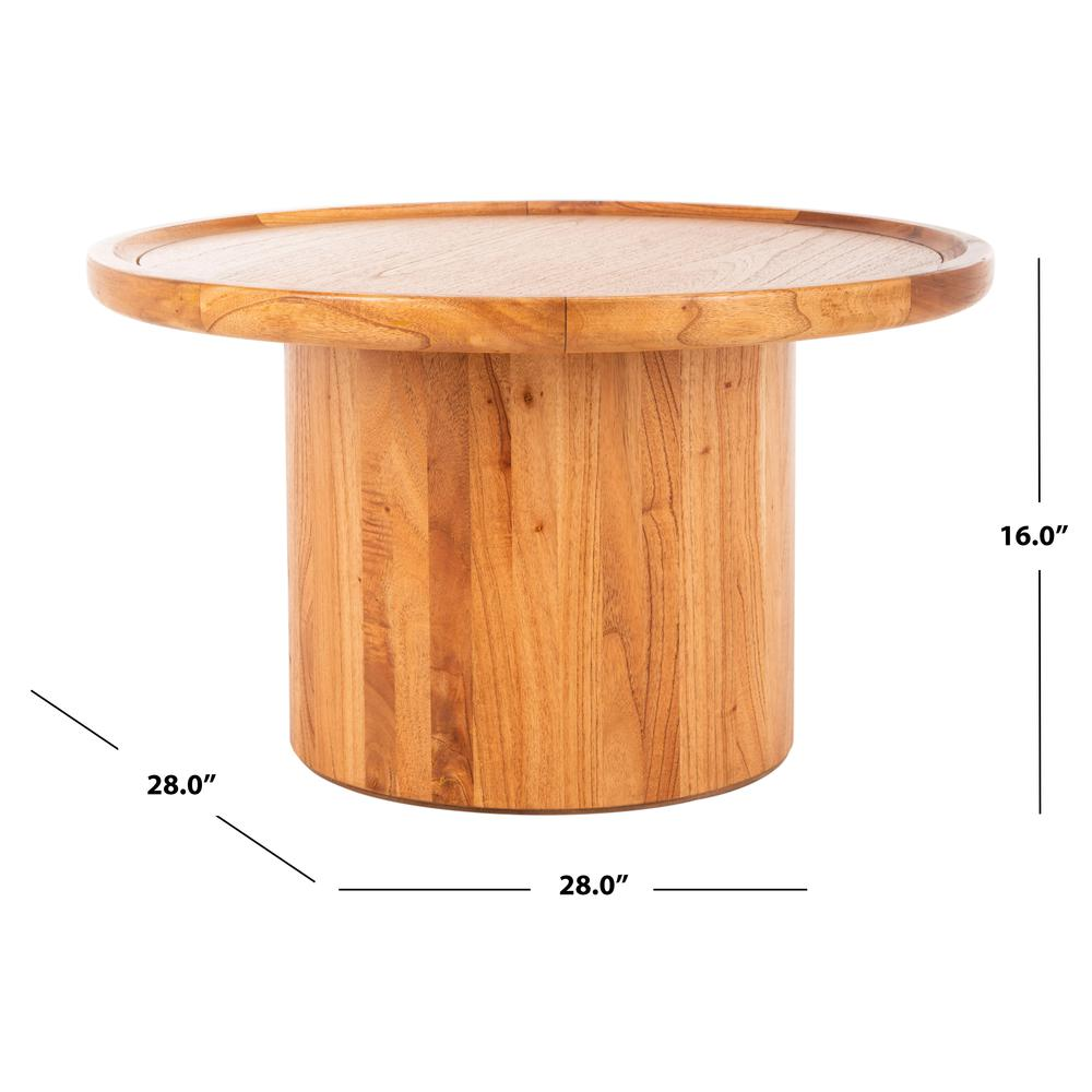 Devin Round Pedestal Coffee Table, Natural Brown. Picture 3