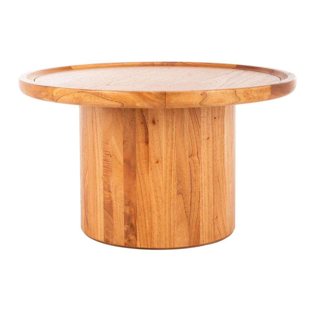 Devin Round Pedestal Coffee Table, Natural Brown. Picture 1