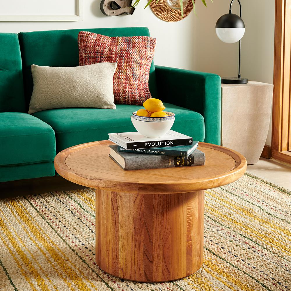 Devin Round Pedestal Coffee Table, Natural Brown. Picture 5