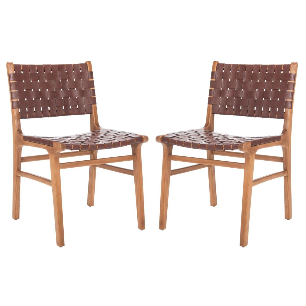 Taika Woven Leather Dining Chair, Cognac/Natural. Picture 13