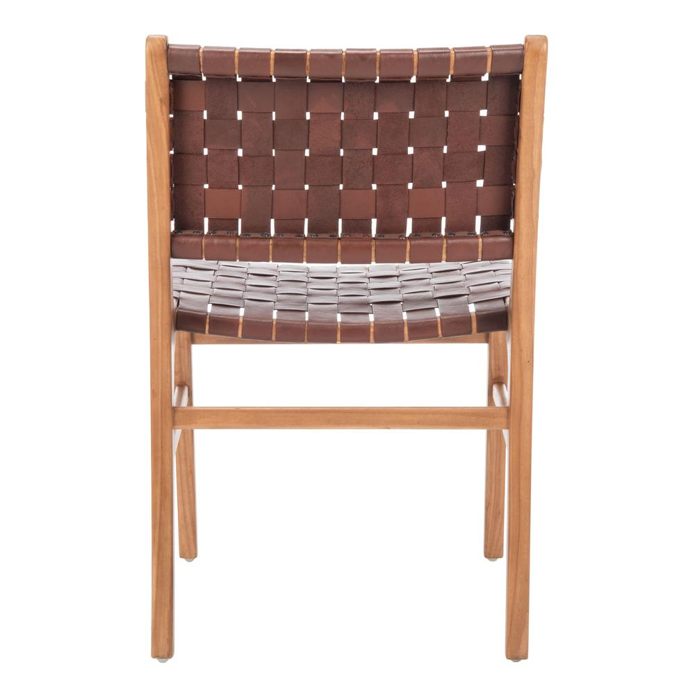Taika Woven Leather Dining Chair, Cognac/Natural. Picture 2