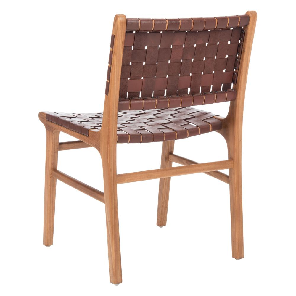 Taika Woven Leather Dining Chair, Cognac/Natural. Picture 3