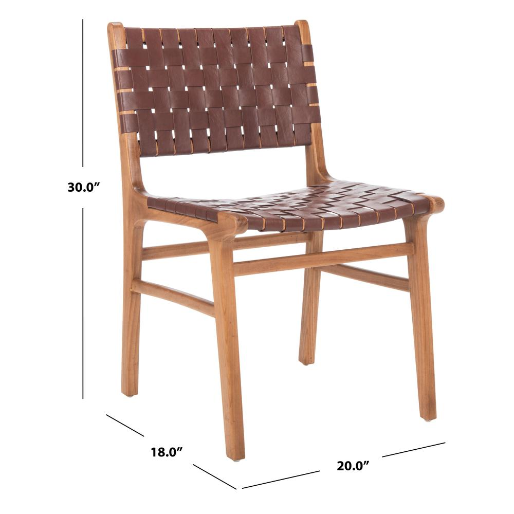 Taika Woven Leather Dining Chair, Cognac/Natural. Picture 6