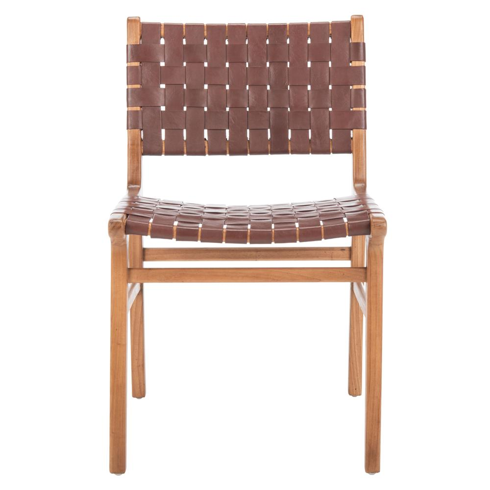 Taika Woven Leather Dining Chair, Cognac/Natural. Picture 1
