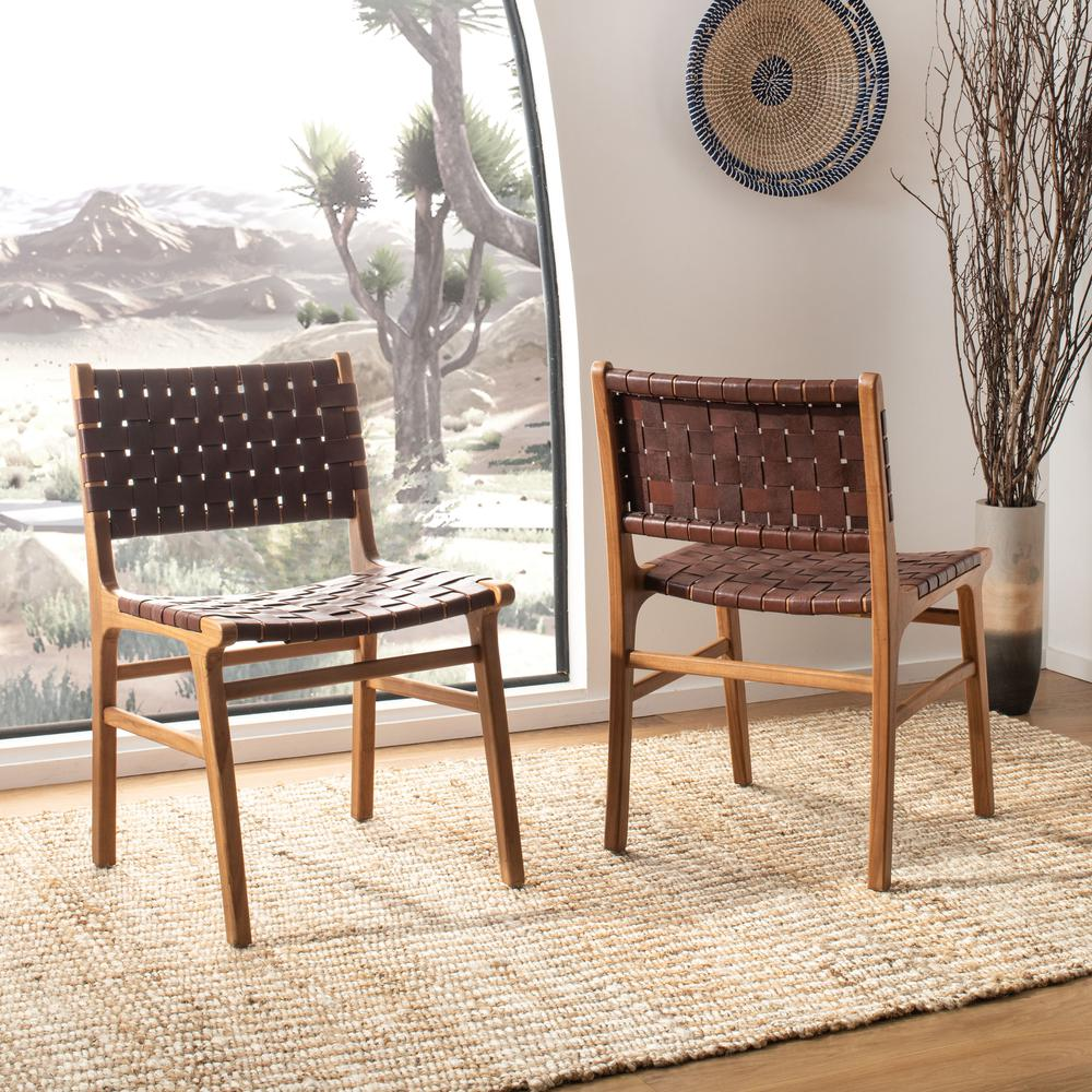 Taika Woven Leather Dining Chair, Cognac/Natural. Picture 8