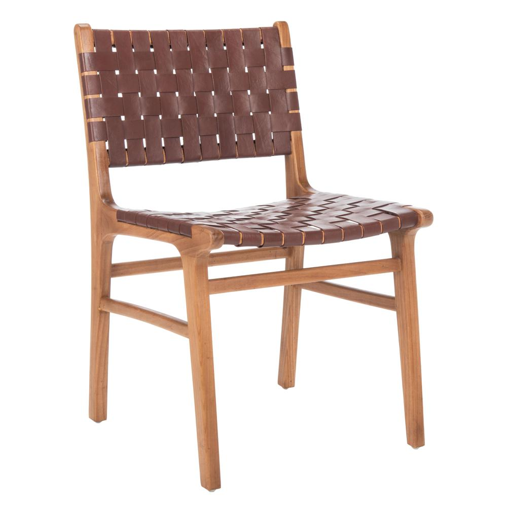 Taika Woven Leather Dining Chair, Cognac/Natural. Picture 10