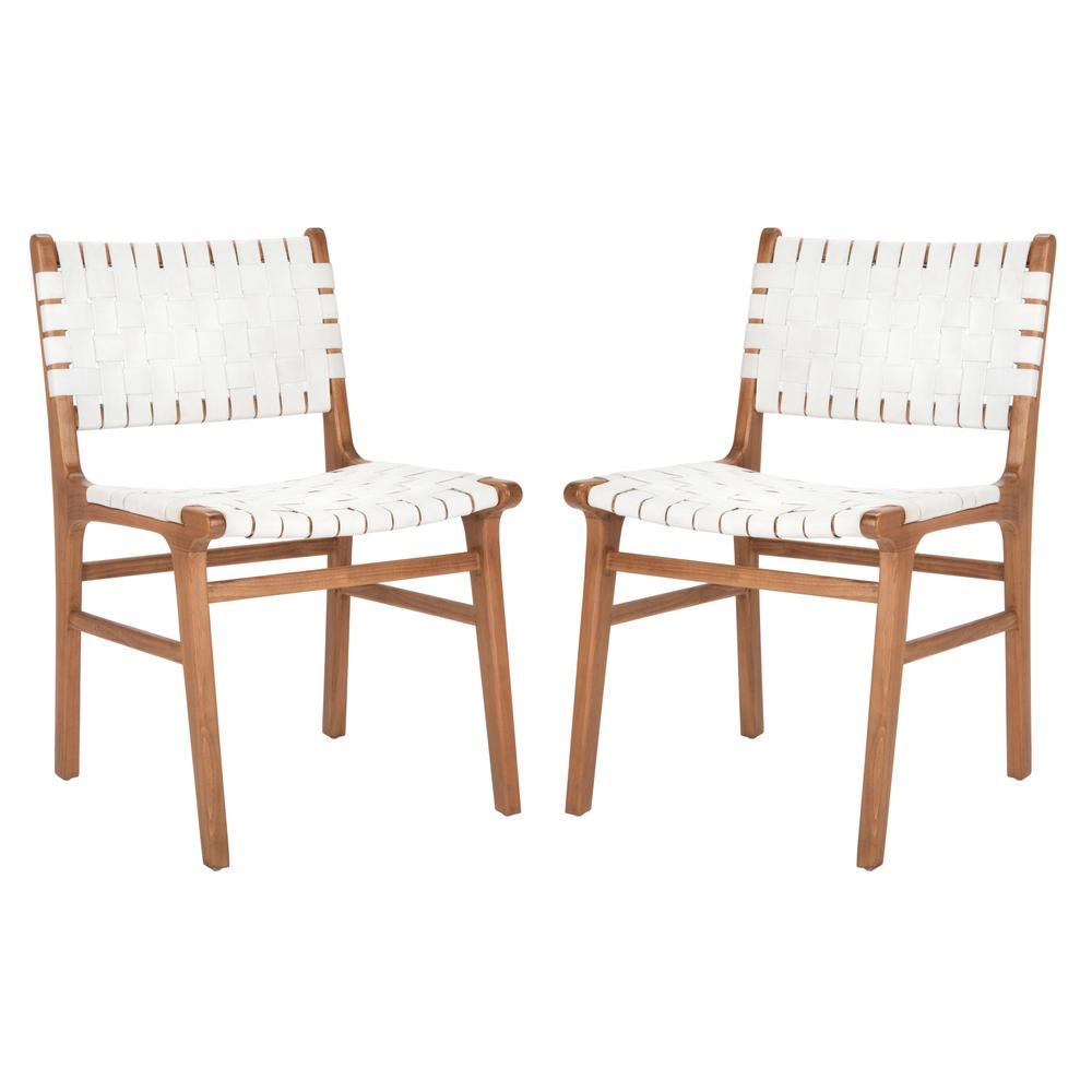 Taika Woven Leather Dining Chair, White/Natural. Picture 11