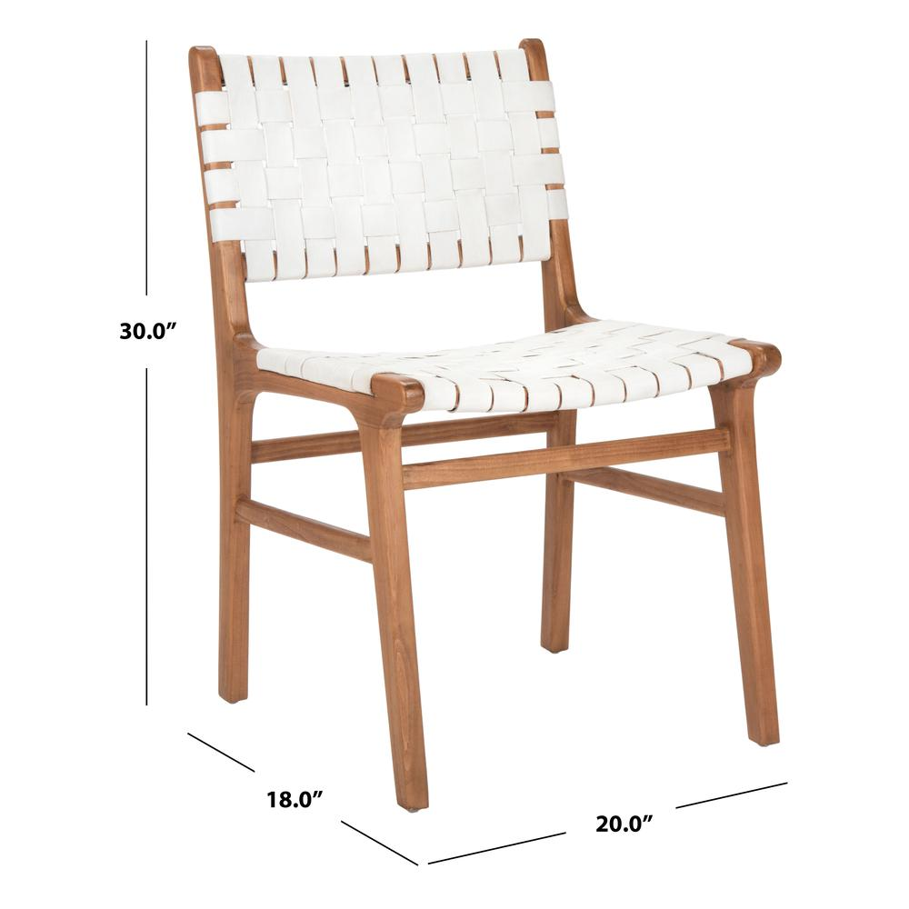 Taika Woven Leather Dining Chair, White/Natural. Picture 6
