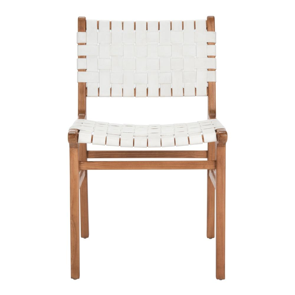 Taika Woven Leather Dining Chair, White/Natural. Picture 1