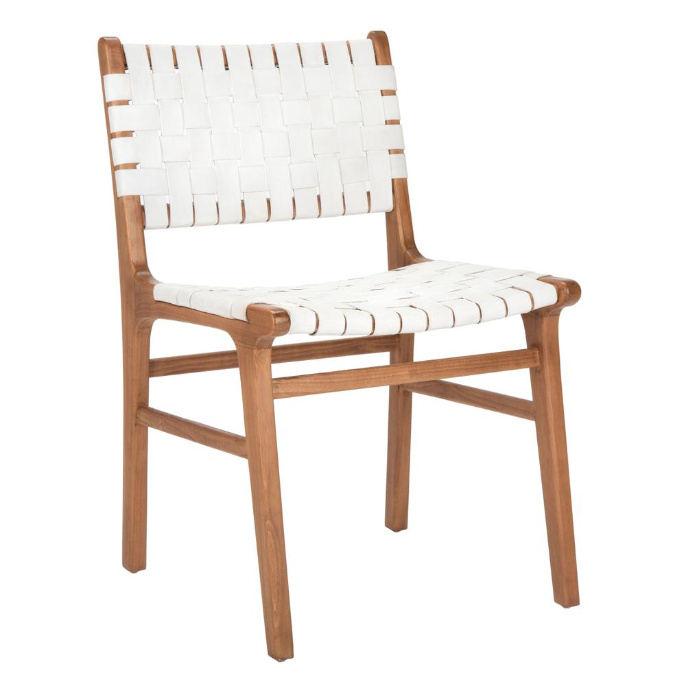 Taika Woven Leather Dining Chair, White/Natural. Picture 8