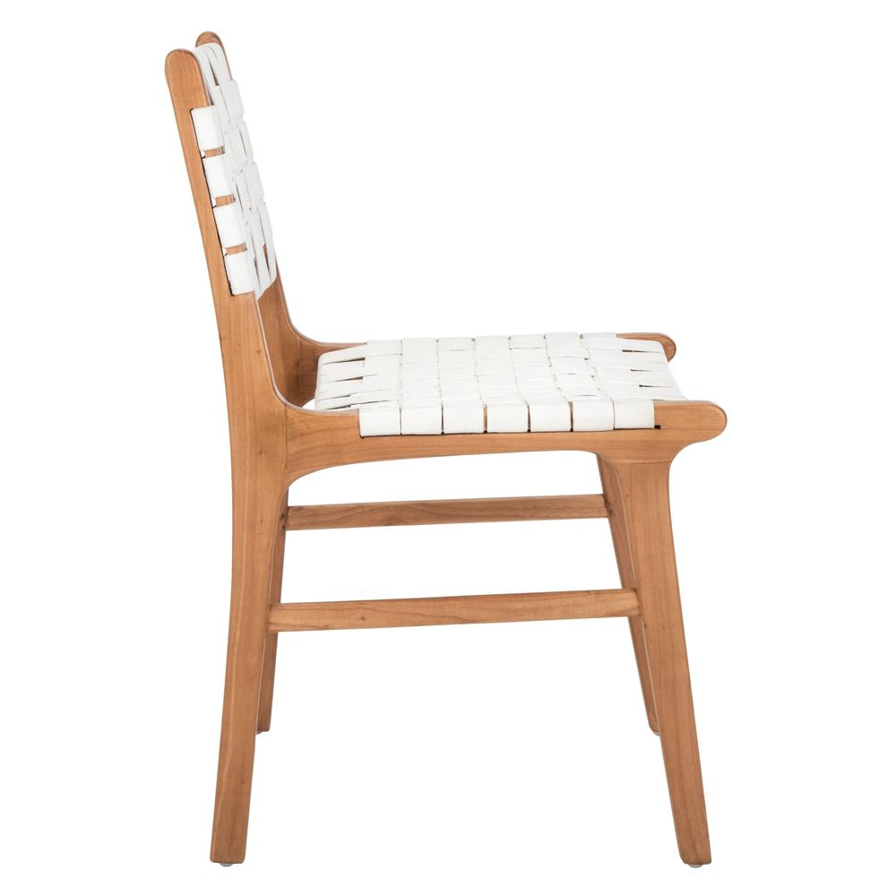 Taika Woven Leather Dining Chair, White/Natural. Picture 9