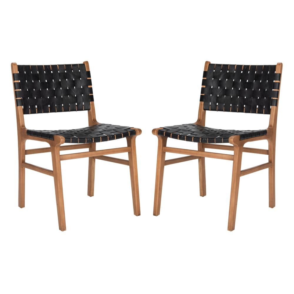 Taika Woven Leather Dining Chair, Black/Natural. Picture 13