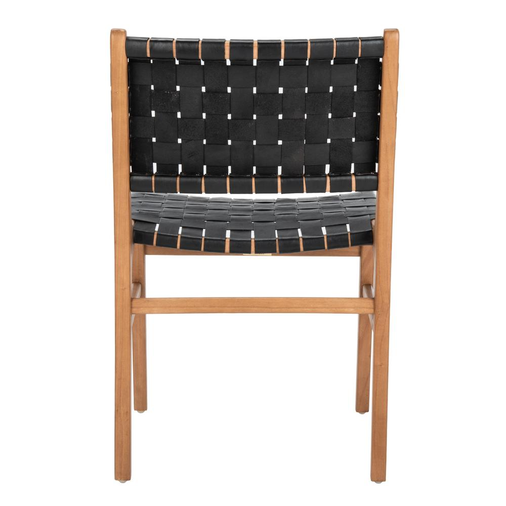 Taika Woven Leather Dining Chair, Black/Natural. Picture 2